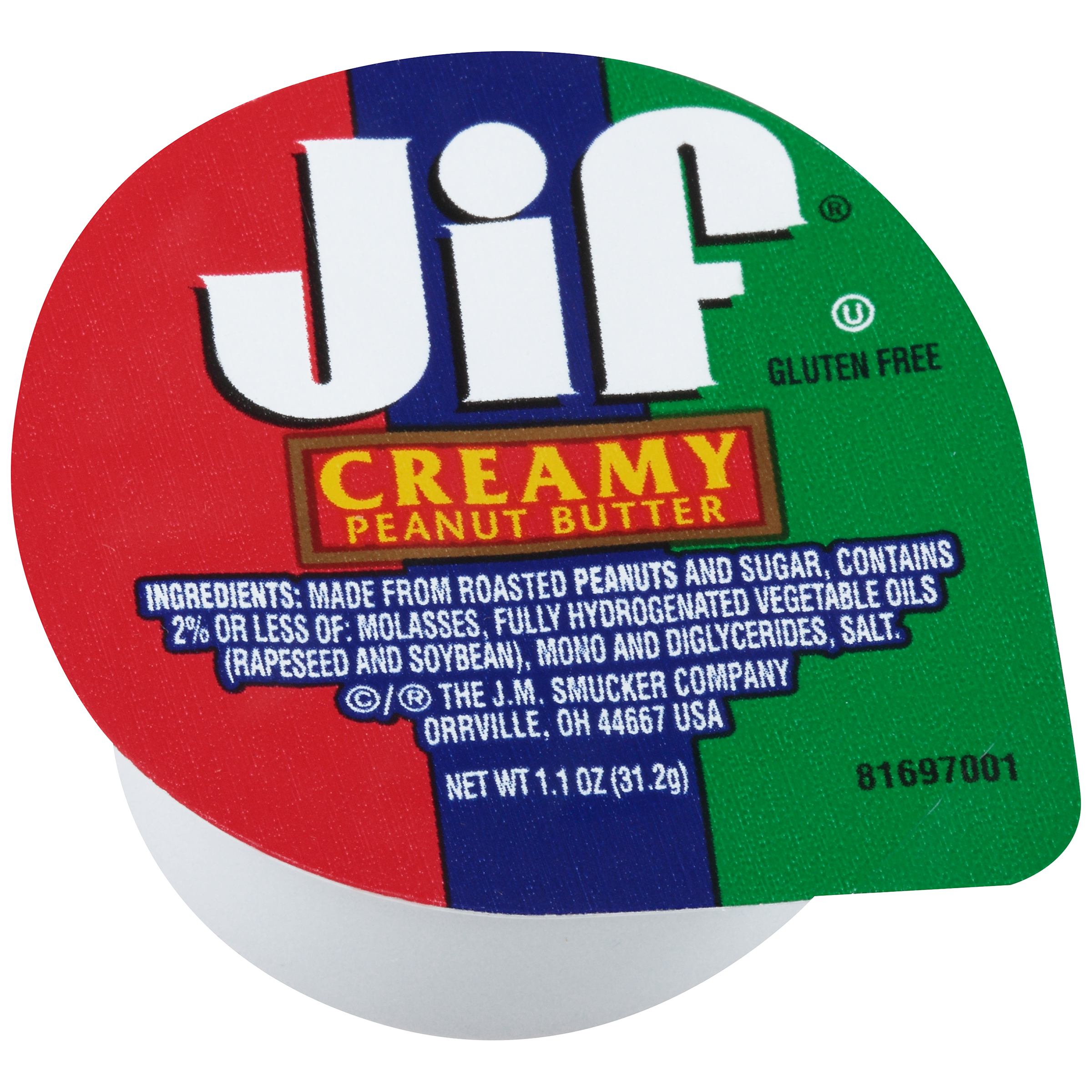 jif 1.1 ounce portion control peanut butter - smucker away from home