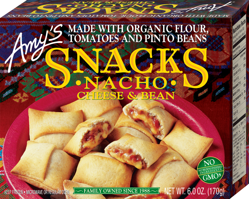 Image result for Amy's Cheese & Bean Nacho Snacks