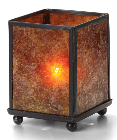 Amber Mica Mini Panel Lamp