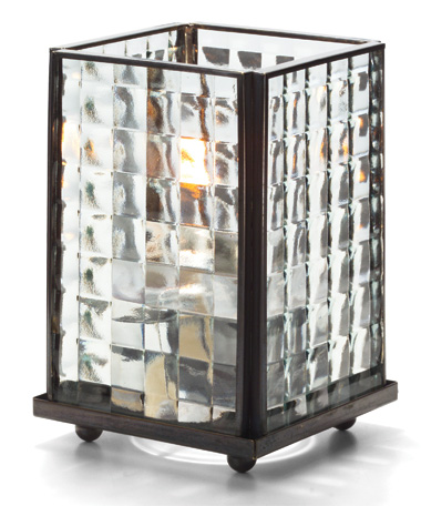 CLEAR  OPTIC GLASS LARGE PANEL LAMP