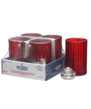 RUBY VERTICAL ROD GLASS LAMP SHELF PACK W/HD12 - 4/PACK