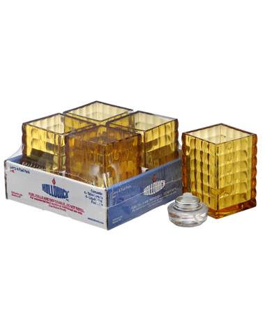 AMBER OPTIC BLOCK GLASS LAMP SHELF PACK W/HD12 - 4/PACK