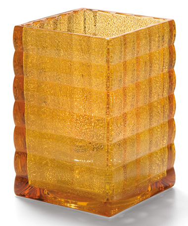AMBER JEWEL OPTIC BLOCK GLASS LAMP