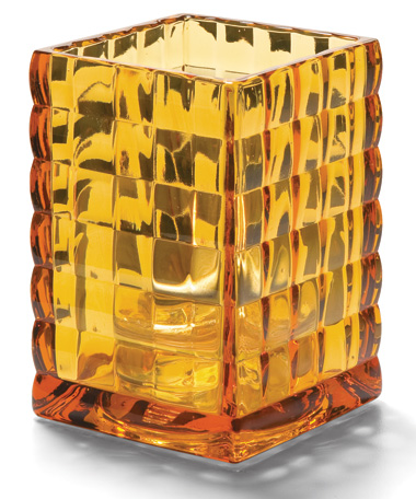 AMBER OPTIC BLOCK GLASS LAMP