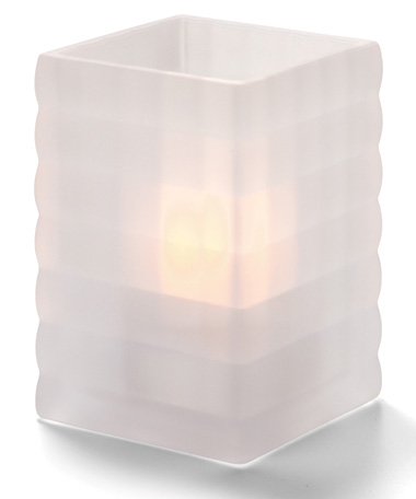 SATIN CRYSTAL OPTIC  BLOCK GLASS LAMP
