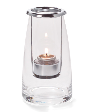 CLEAR SHORT LIGHTHOUSE GLASS TEALIGHT LAMP