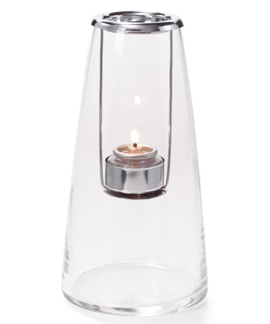 CLEAR TALL LIGHTHOUSE  GLASS TEALIGHT LAMP