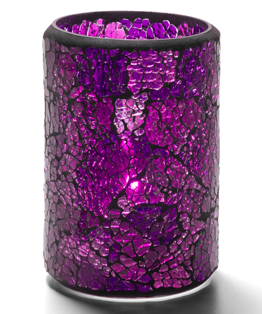 Blue & Purple Crackle™ Glass Cylinder Lamp