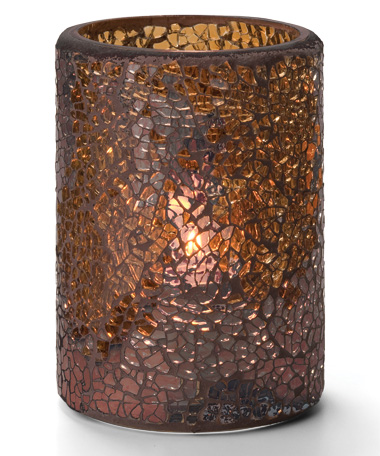 GOLD CRACKLE GLASS CYLINDER LAMP