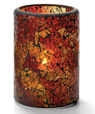 RED & GOLD CRACKLE GLASS CYLINDER LAMP
