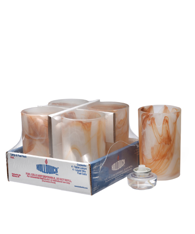 CARAMEL WYSP CYLINDER GLASS LAMP SHELF PACK W/HD12 - 4/PACK