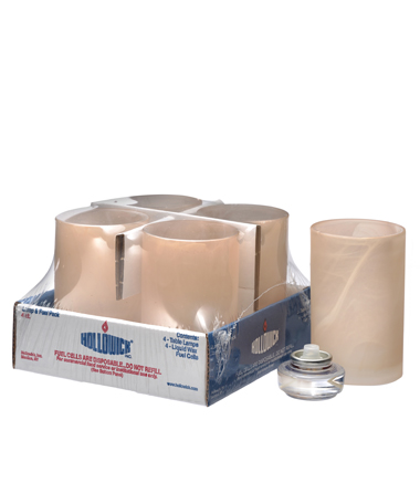 AMBER SATIN WYSP CYLINDER LAMP SHELF PACK W/HD12 - 4/PACK