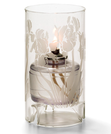 IRIS  ETCH LARGE GLASS CYLINDER LAMP