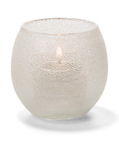CLEAR ICE,  SMALL GLASS BUBBLE TEALIGHT LAMP