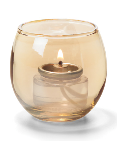 GOLD,  SMALL GLASS BUBBLE TEALIGHT  LAMP