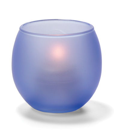 SATIN DARK BLUE,  SMALL GLASS BUBBLE TEALIGHT  LAMP