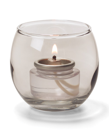 SMOKE LUSTRE, SMALL GLASS BUBBLE TEALIGHT  LAMP