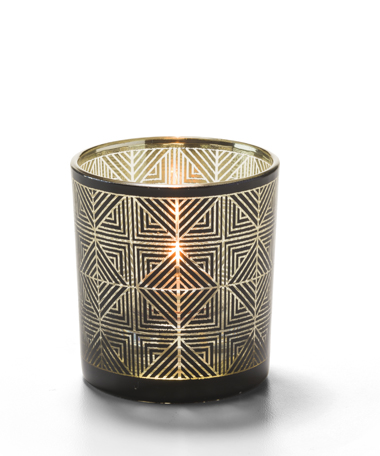 Sussex™ Geometric Glass Votive Lamp (Black and Gold)