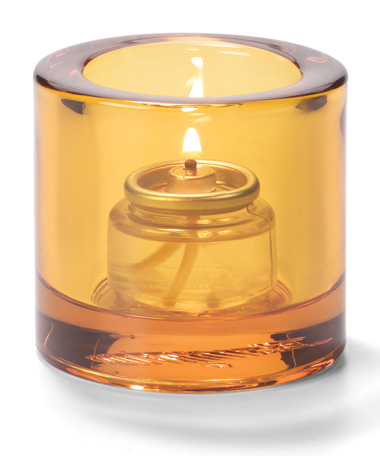 AMBER, ROUND THICK GLASS TEALIGHT LAMP