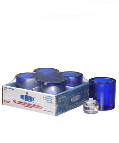 COBALT BLUE ROUND GLASS THICK TEALIGHT LAMP SHELF PACK w/HD8 - 4/PACK