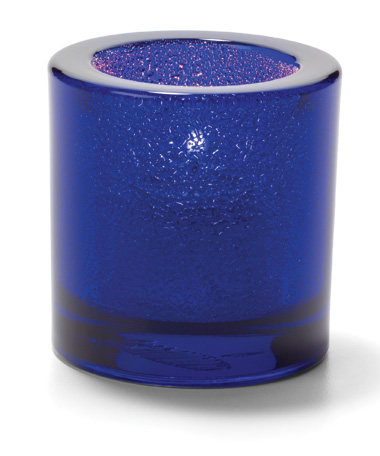 COBALT JEWEL, ROUND THICK GLASS TEALIGHT LAMP
