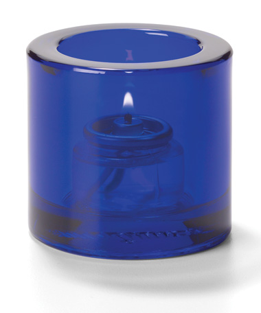 COBALT BLUE, ROUND GLASS THICK TEALIGHT LAMP