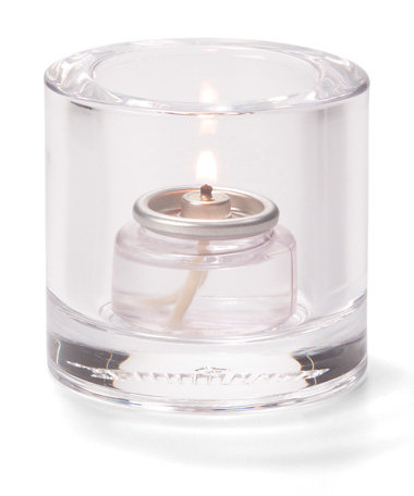 CLEAR, ROUND THICK GLASS TEALIGHT LAMP