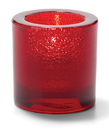 RUBY JEWEL, ROUND THICK GLASS TEALIGHT LAMP