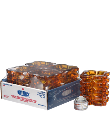 Amber Facet Cube Glass Votive Lamp Shelf Pack w/HD8  - 4/Pack
