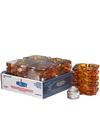 View details for Amber Faceted Cube Glass Votive Lamp Shelf Pack w/HD8  - 4/Pack