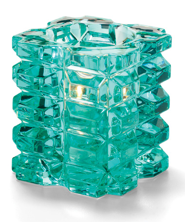 AQUA FACETED CUBE GLASS VOTIVE LAMP