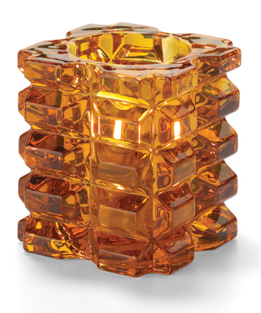 Amber Facet Cube Glass Votive Lamp, Shelf Pack   4/Pack