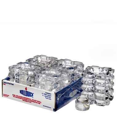CLEAR FACET CUBE GLASS VOTIVE LAMP SHELF PACK w/HD8 - 4/PACK