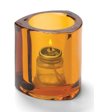 AMBER THICK GLASS TRIANGLE TEALIGHT LAMP