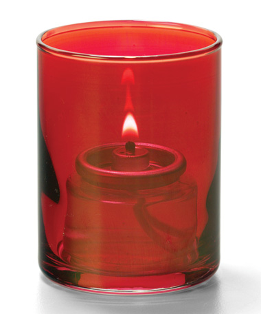 Ruby Lustre, Tealight Glass Cylinder  Lamp