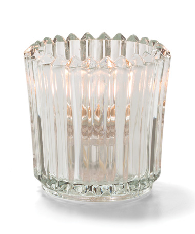 Clear Ribbed Glass Tealight Lamp