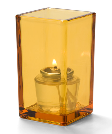 AMBER-QUAD GLASS VOTIVE LAMP