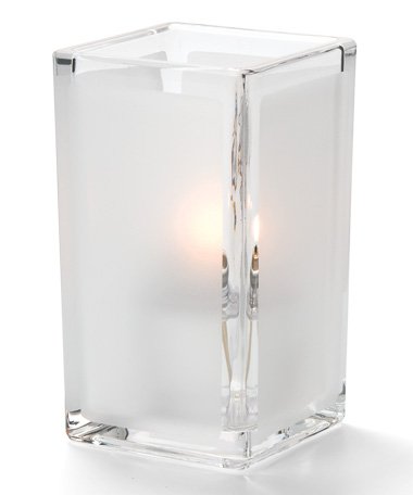 CLEAR SATIN PANEL-QUAD GLASS VOTIVE LAMP