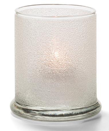 Clear Ice Glass Votive Column Lamp