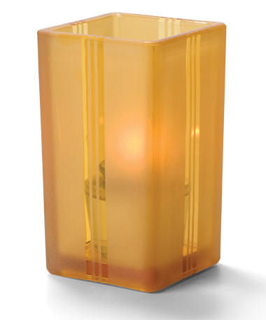 Amber Art Deco-Quad Glass Votive Lamp