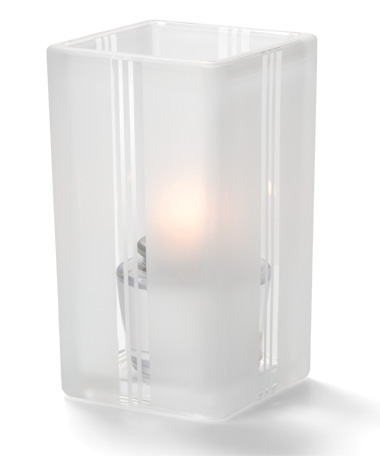 CLEAR ART DECO-QUAD GLASS VOTIVE LAMP
