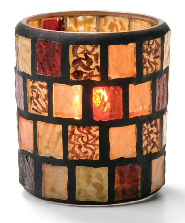 Amber Mosaic Votive Glass Lamp