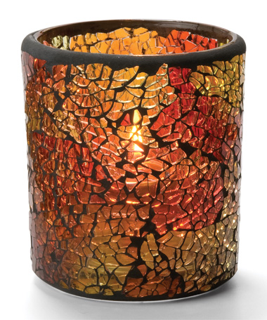 RED & GOLD CRACKLE GLASS VOTIVE LAMP