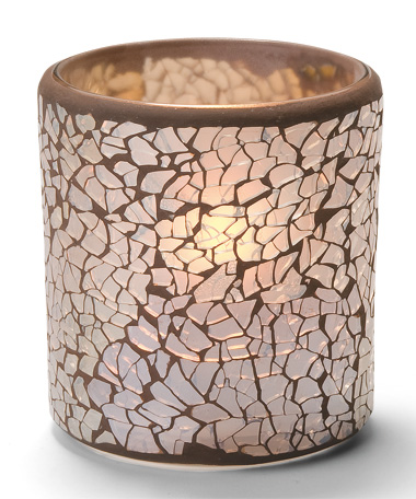 GOLD FROSTED CRACKLE GLASS VOTIVE LAMP