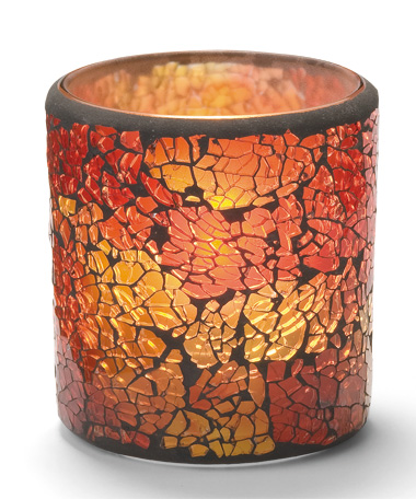 RED & GOLD FROSTED CRACKLE GLASS LAMP