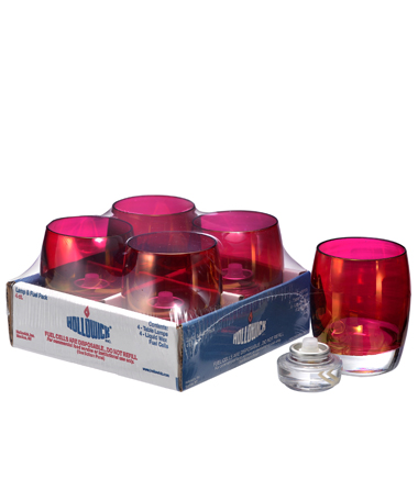 Ruby Lustre Contour Glass Votive Lamp Shelf Pack w/HD12- 4/Pack