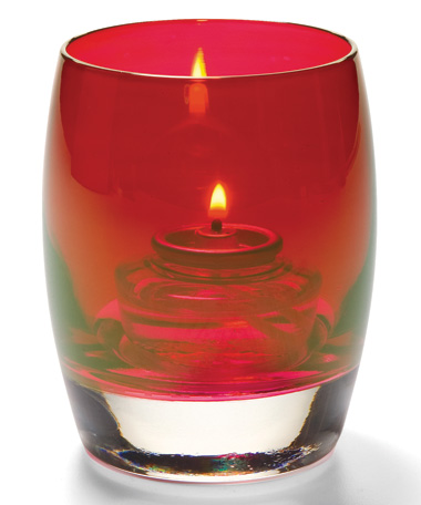 RUBY LUSTRE CONTOUR GLASS VOTIVE LAMP