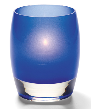 SATIN DARK BLUE CONTOUR GLASS VOTIVE LAMP