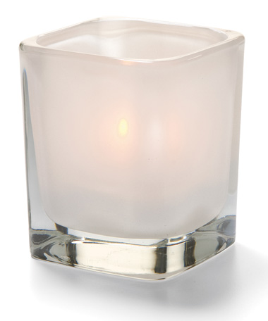 SATIN LINEN TETRA  GLASS VOTIVE LAMP