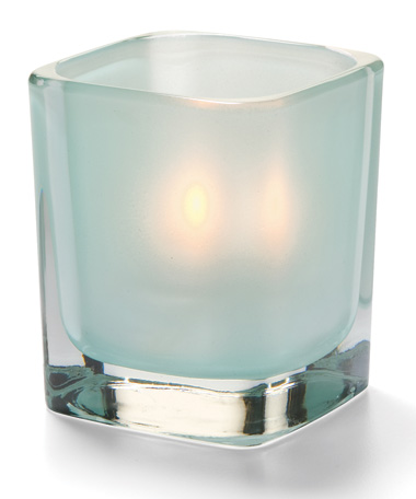 SATIN SEAFOAM TETRA GLASS VOTIVE LAMP